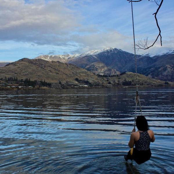 Rope swing at Lake Hayes