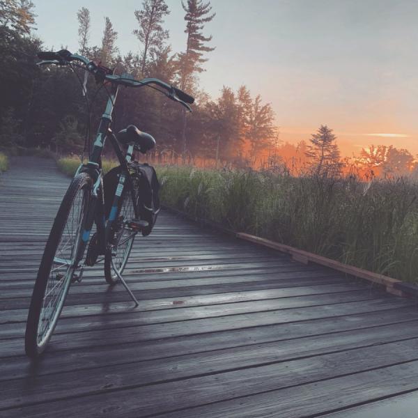 Bike, sunset, dew, boardwalk, outdoors