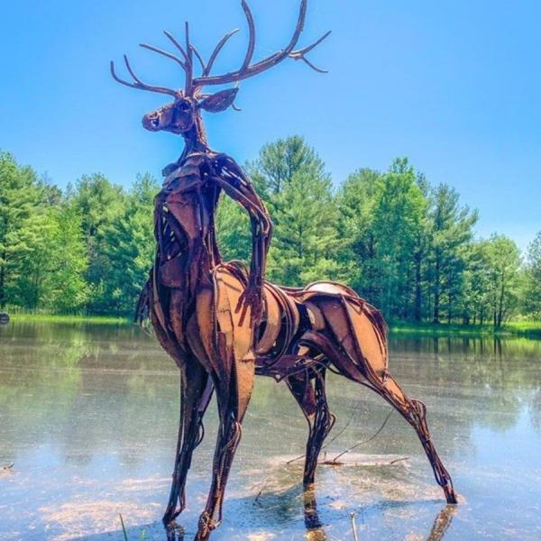 Sculpture, lake, water, trees, summer