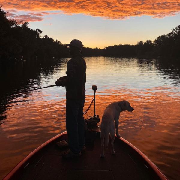 Fishing, dog, boat, water, sunset