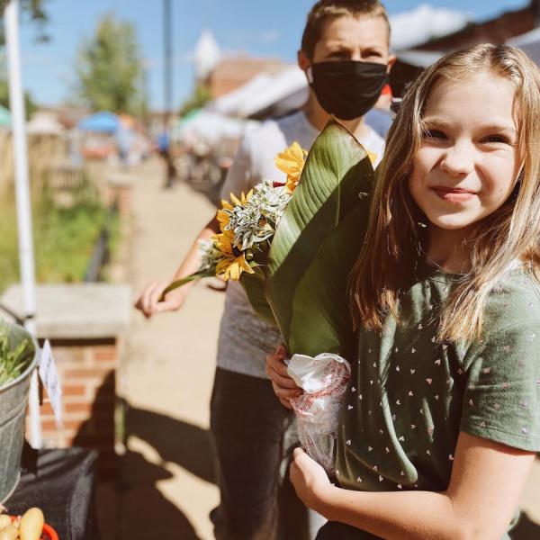 Kids, flowers, farmers market