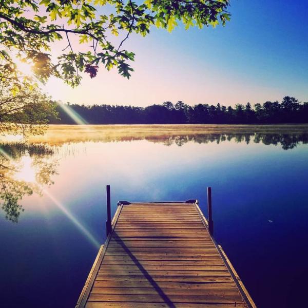 Dock, water, trees