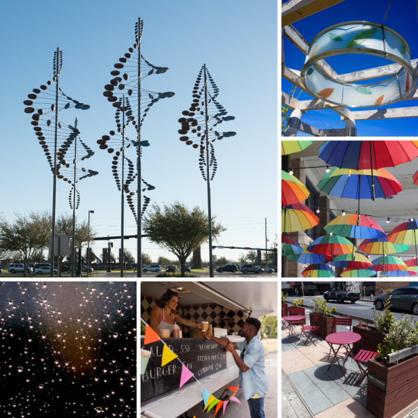 Different project examples for the City of Sugar Land's Creative Placemaking Program.
