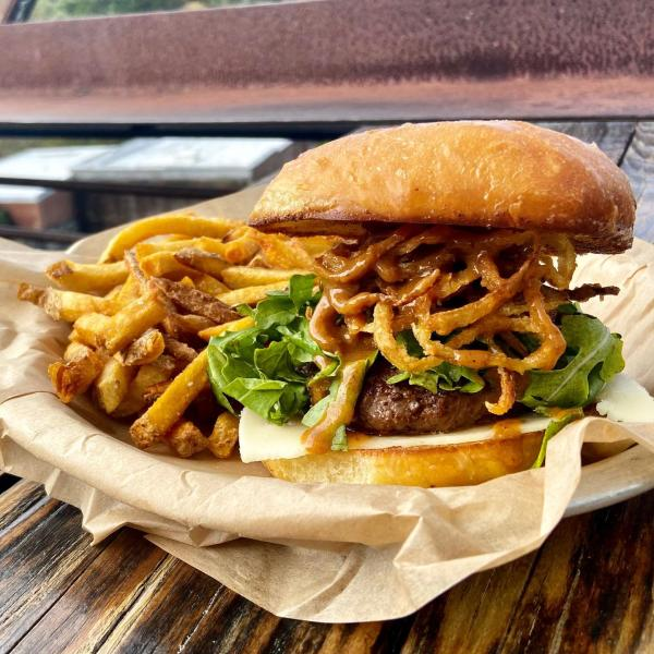 burger with onion straw