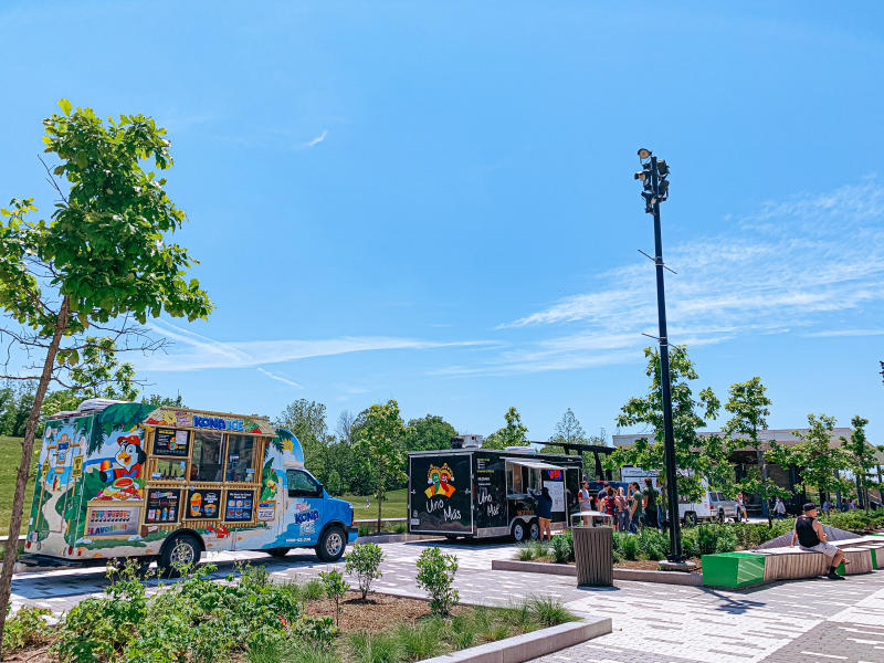 Food trucks lined up at Switchyard Park for Food Truck Friday