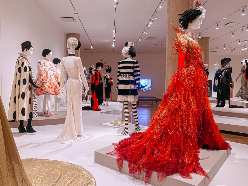 Various costumes on exhibit at the Glenn Close exhibition at the Eskenazi Museum of Art