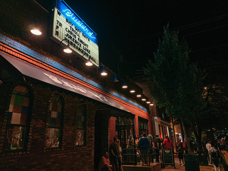 Exterior of The Bluebird on a concert night
