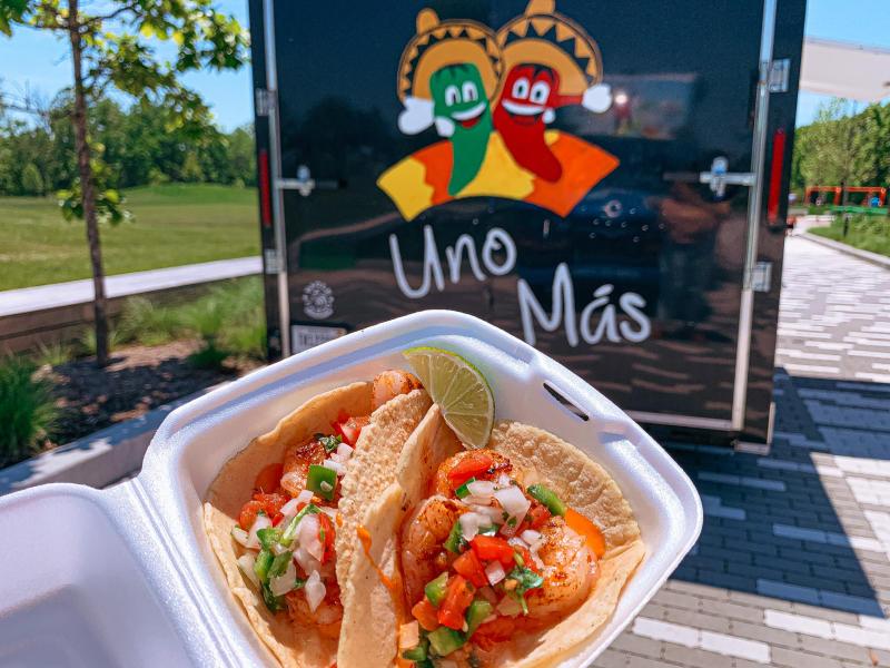 Shrimp tacos from Uno Mas Taco Truck