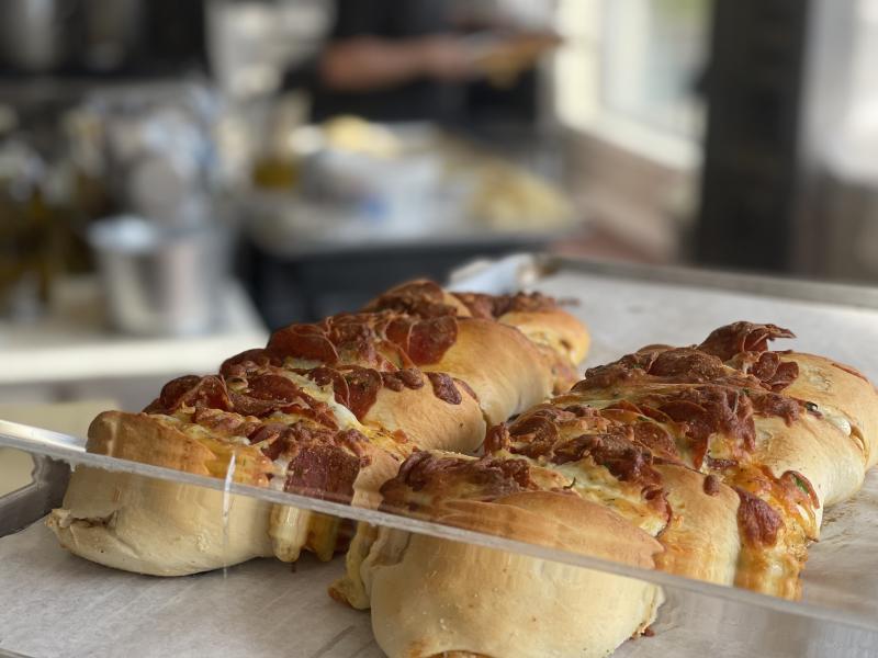 Stromboli on a tray .