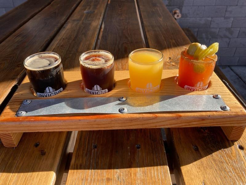 Brunch flight of Invictus beer