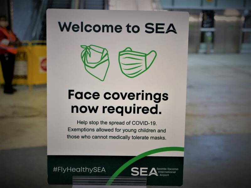 Welcome to SEA Face coverings required sign