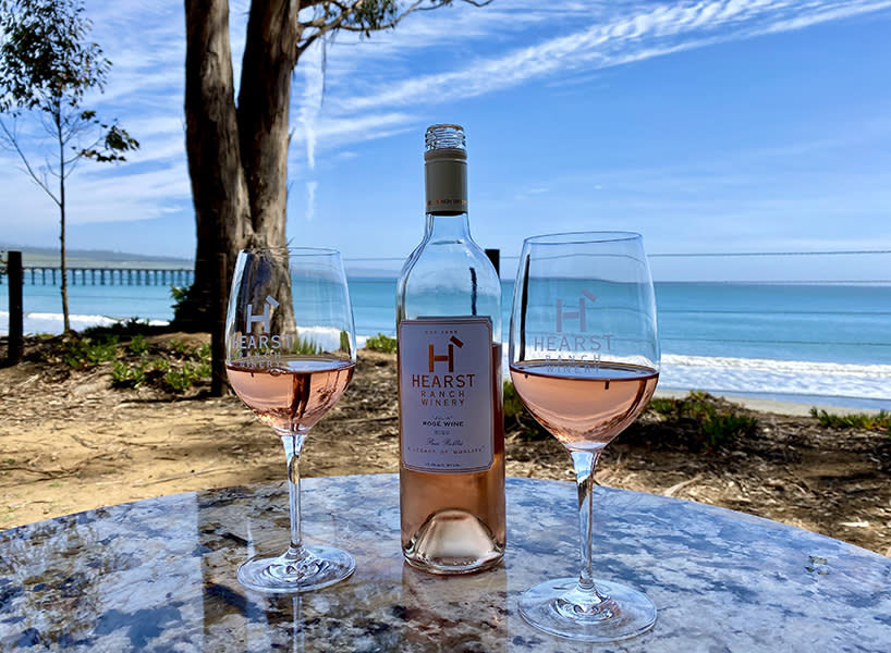 Two Glasses of Wine on a Table at Hearst Winery San Simeon Julia Morgan Rose