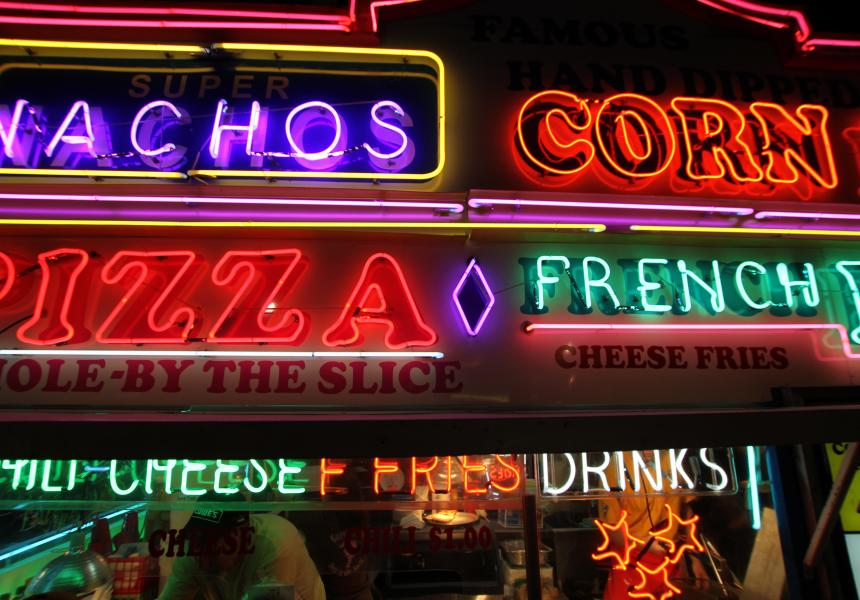 Neon Fair Food Sign