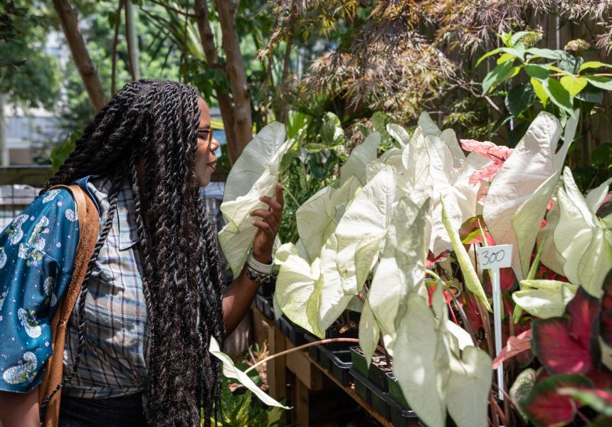 Woman at garden center
