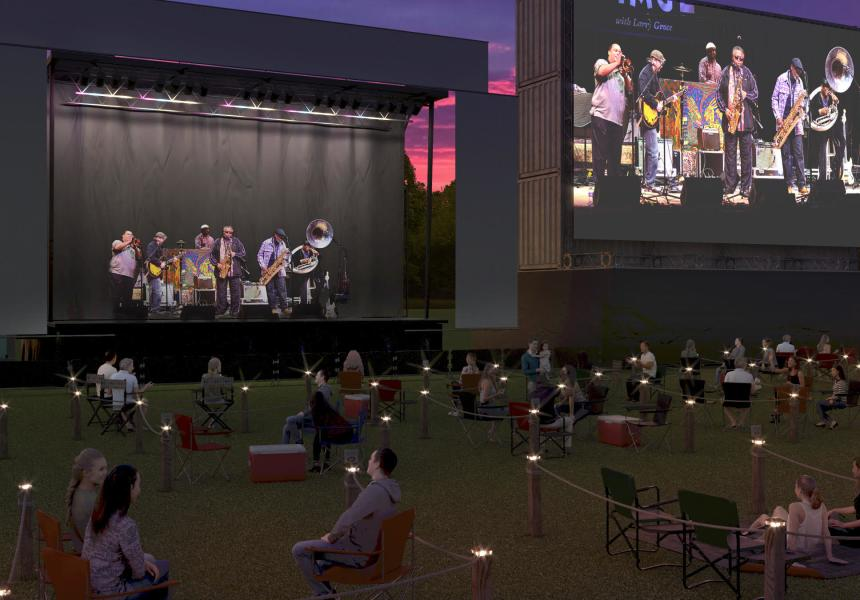 Rendering of Cola Concerts Socially Distanced set up at the Columbia Speedway