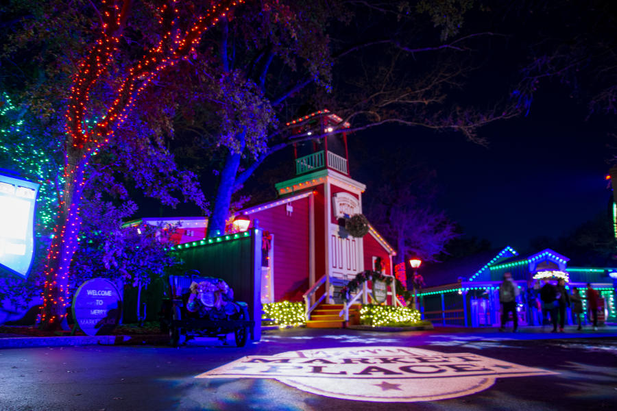 Photo of buildings with Christmas lights and decoration at Six Flags Over Texas Holiday in the Park