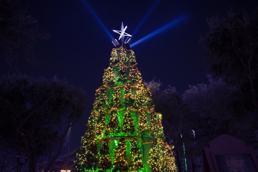 "Photo of Christmas ""tree of trees"" at Six Flags Over Texas Holiday in the Park"