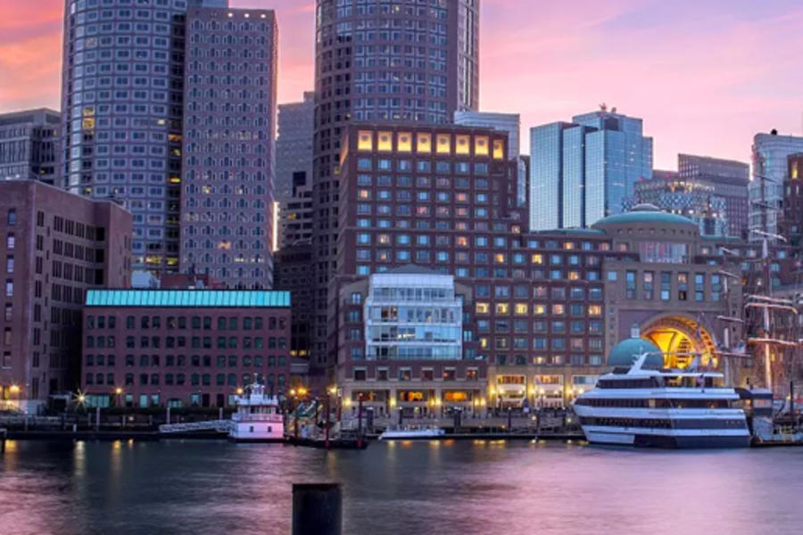 Boats on the water in Boston's Waterfront neighborhood