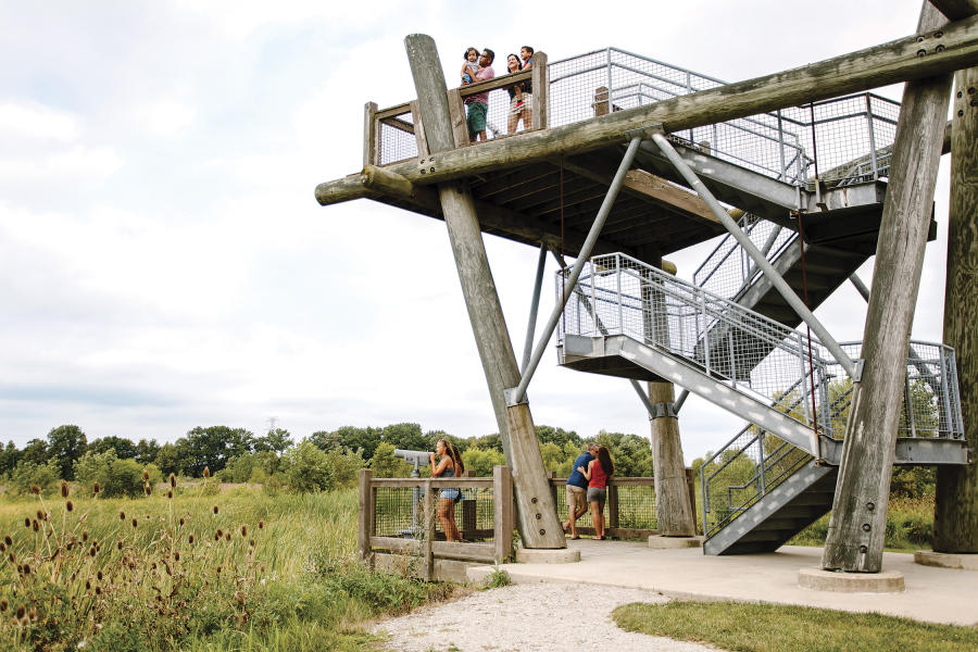 Two families looking out from the observation tower at Glacier Ridge Metro Park