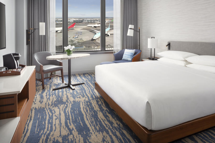 Guest room at the Grand Hyatt at SFO overlooking the runway at SFO Airport