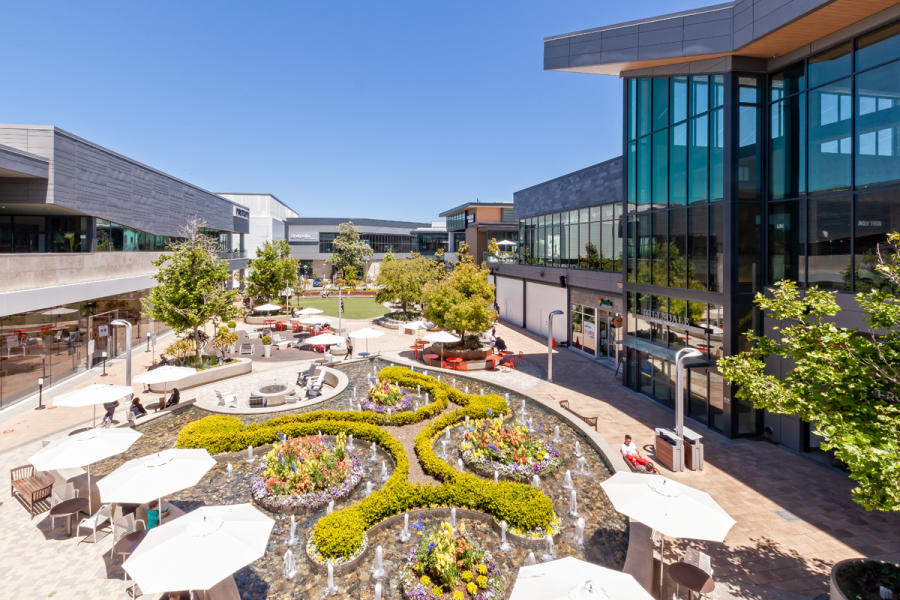 The Hillsadale Shopping Center North Block features a beautiful water feature with a built-in garden.