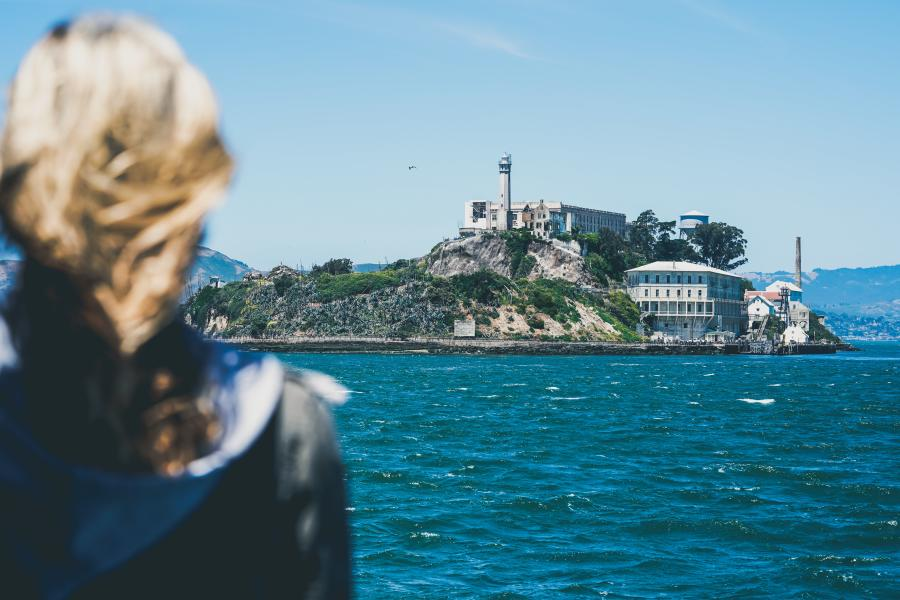 Woman on the SF Ferry on her way to Alcatraz Island