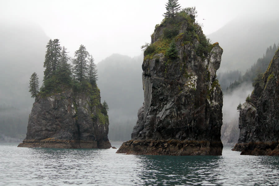 Lake with cliffs