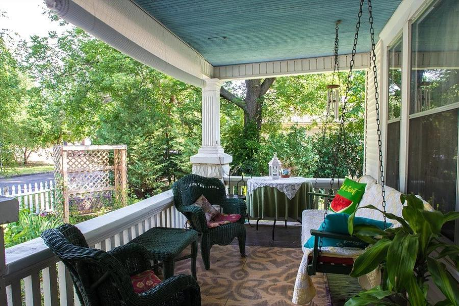 Front Porch Swing at Delano Bed and Breakfast