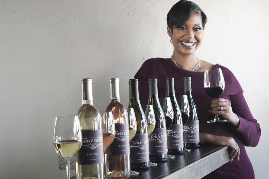 Jenny with Her Wines from Jenny Dawn Cellars