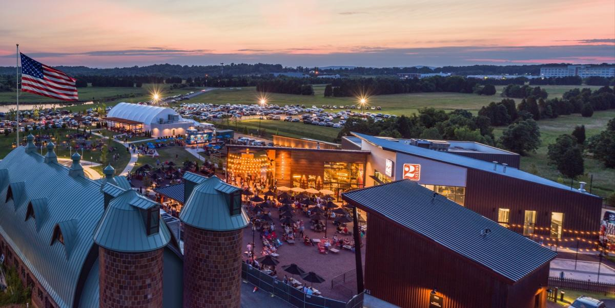 evening aerial view of Farm Brew Live