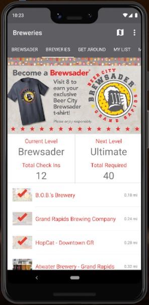 Brewsader App displayed on phone