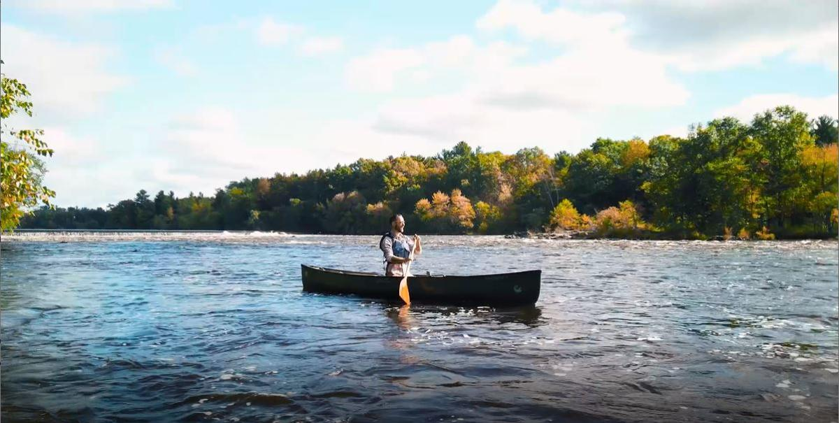 Kayak enthusiast Timothy Bauer paddles the Wisconsin River.