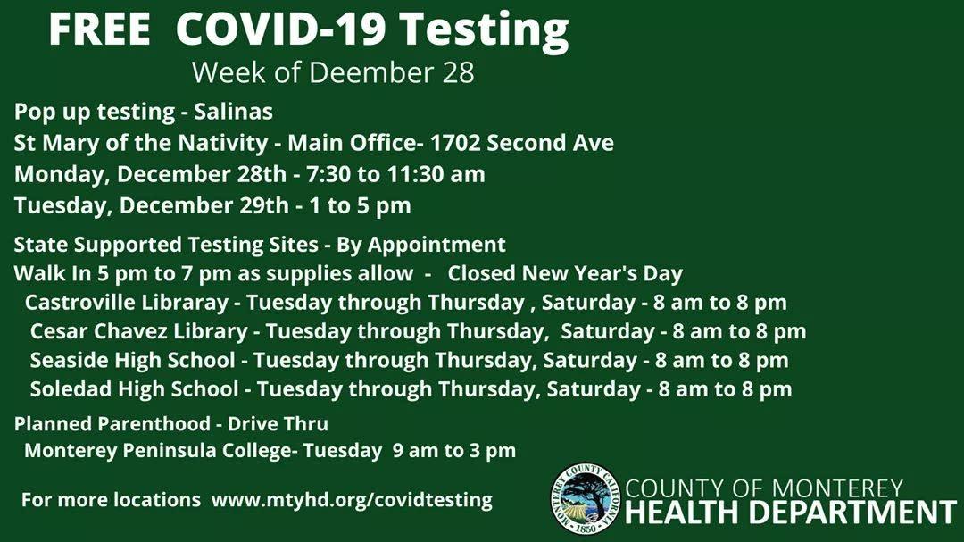 COVID-19 Pop Up Testing 12.28.20