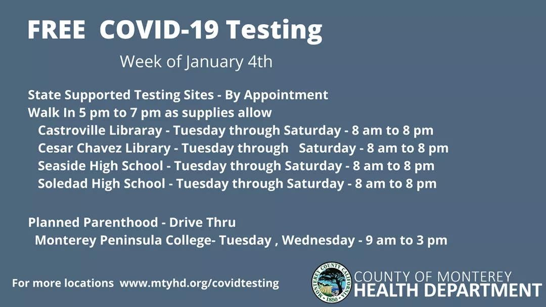 COVID-19 Popup testing for week of Jan 4, 2021