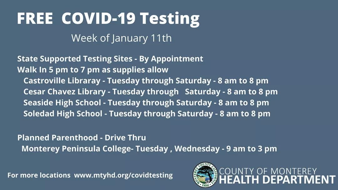 Pop up testing for week of Jan 11th