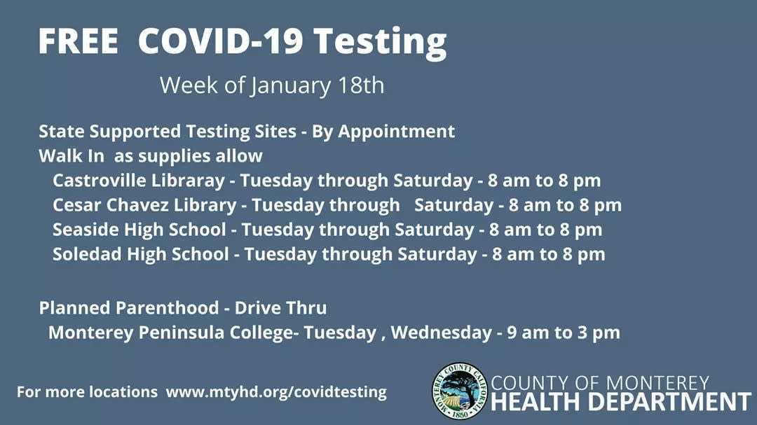 Pop up testing for week of Jan 18th