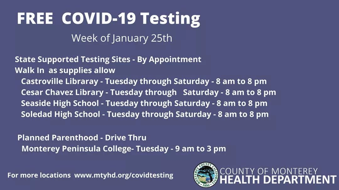 Pop up testing for week of Jan 25th