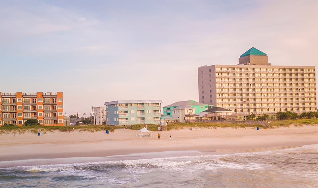 Carolina Beach with Marriott on the Right