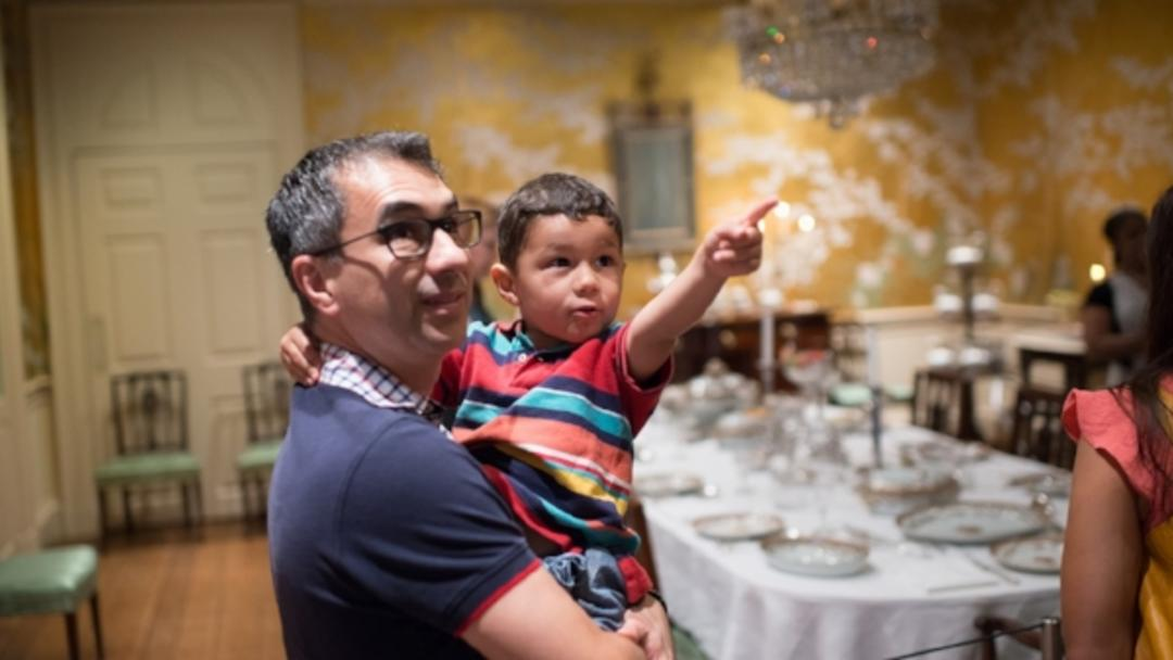 Father and son at Museum of Fine Arts, Houston