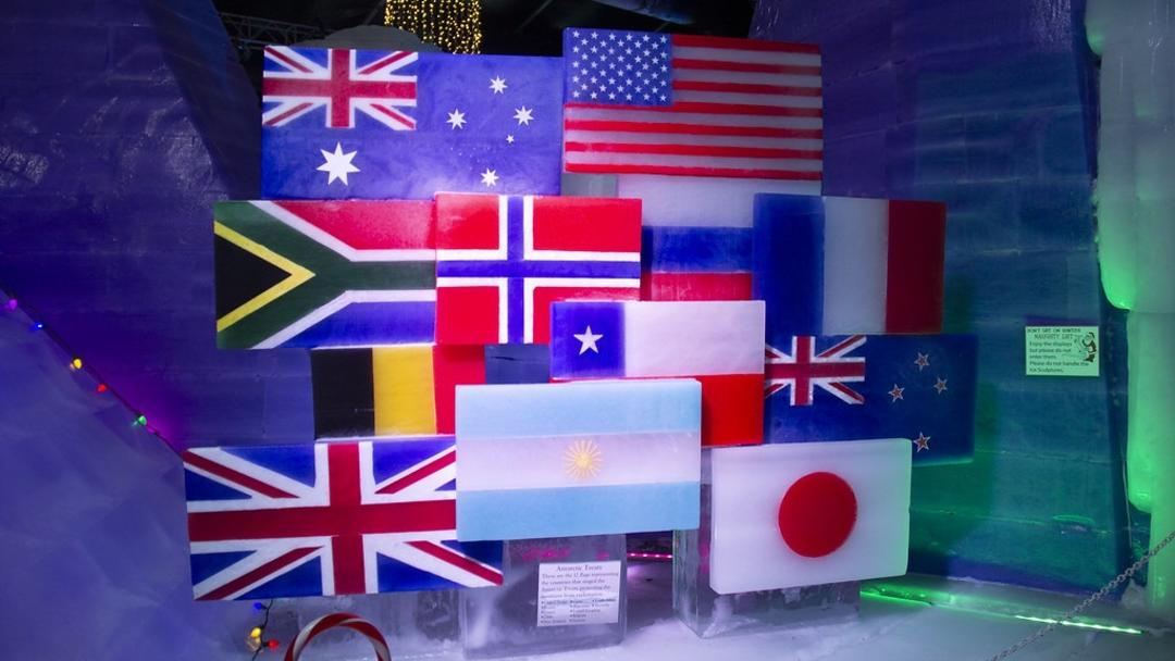 Flag display at Ice Land 2019 near Houston