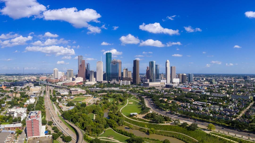 Aerial view of Eleanor Tinsley Park with the Houston Skyline