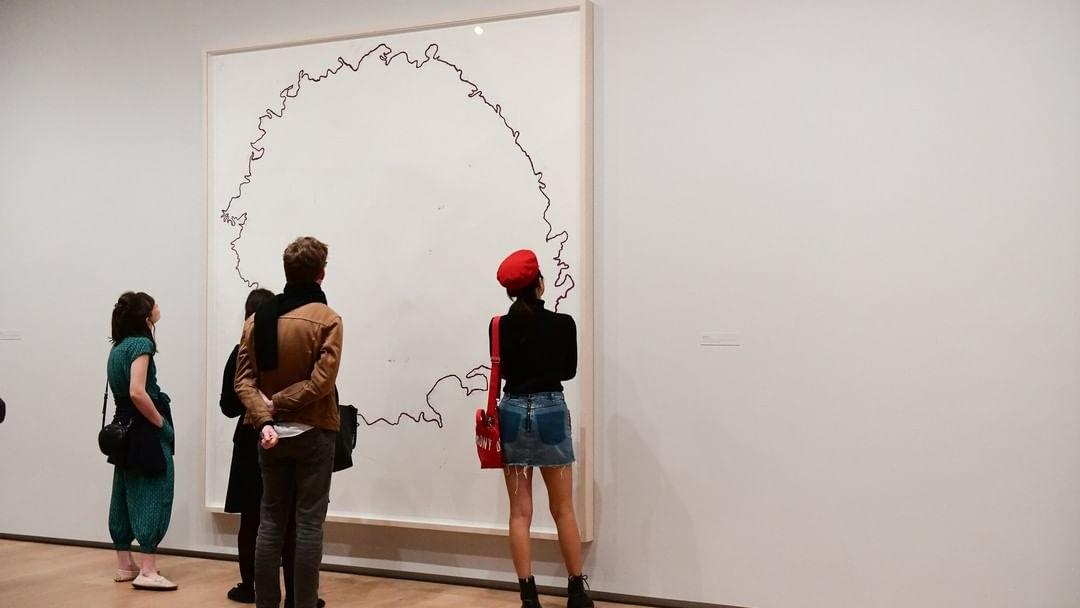 People observing Art at Menil Drawing Institute in Houston