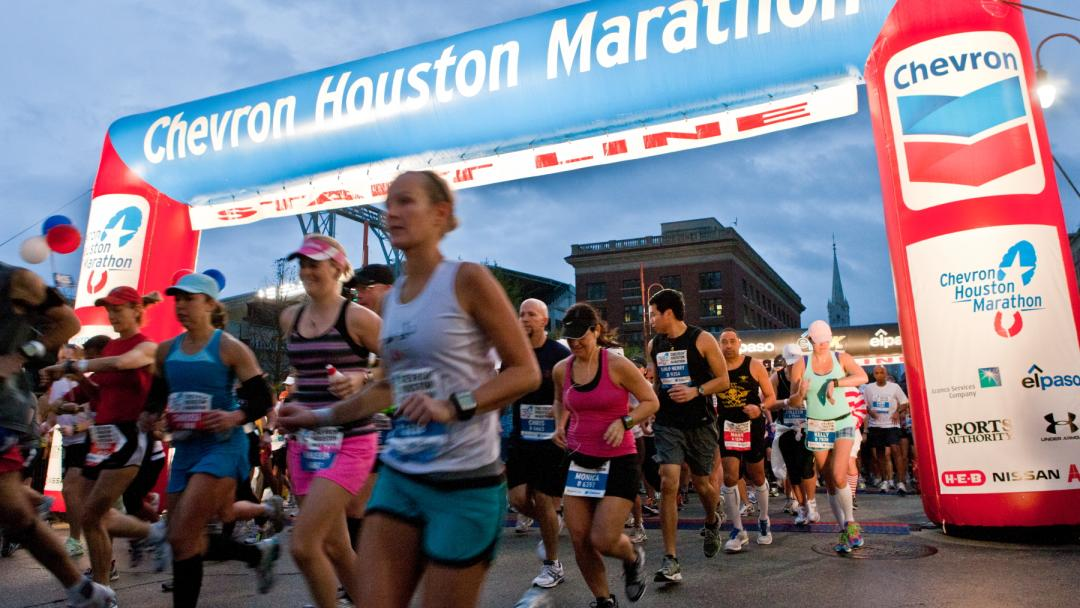 People running in the Chevron Houston Marathon