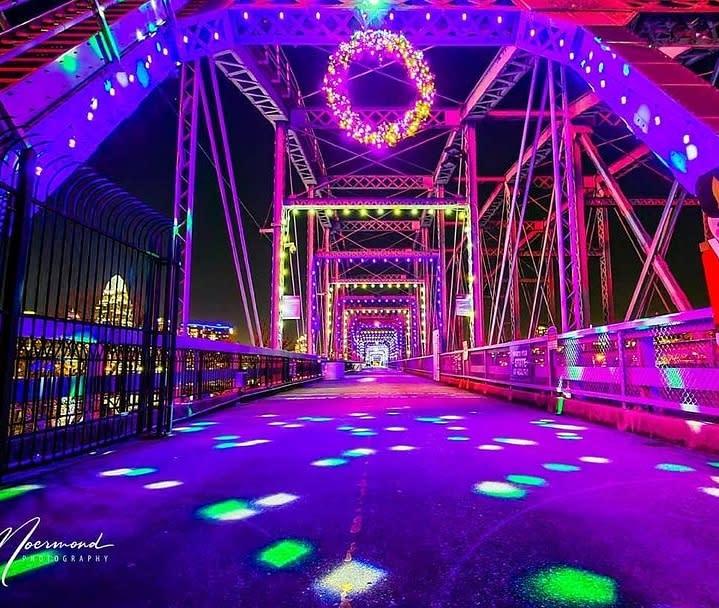 Purple People Bridge Winter Nights Holiday Lights with wreath