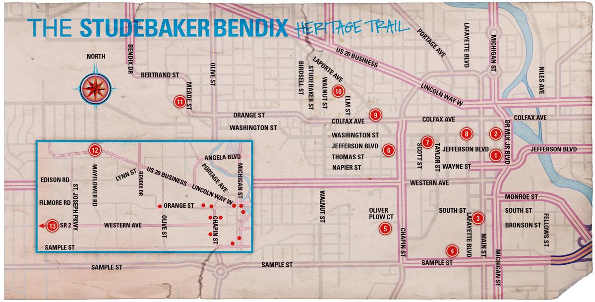 The Studebaker Bendix Heritage Trail Map