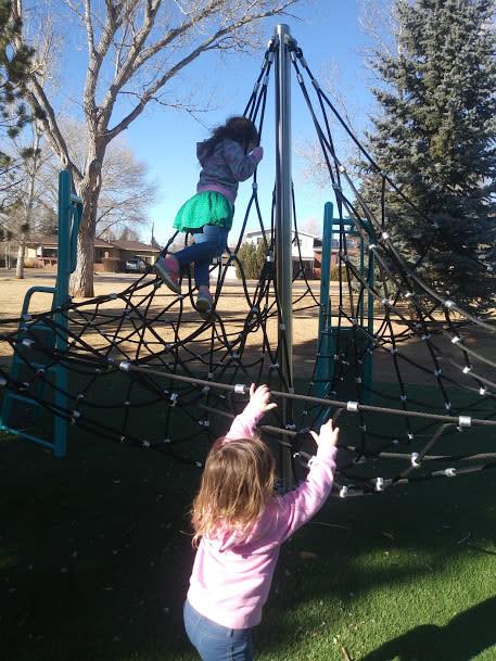 Exploring the new playground at La Prele Park