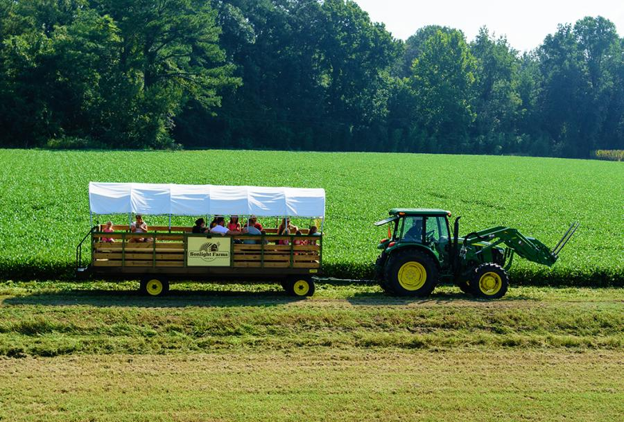 Enjoy the tractor-pulled hayride at Sonlight Farms in Kenly, NC.