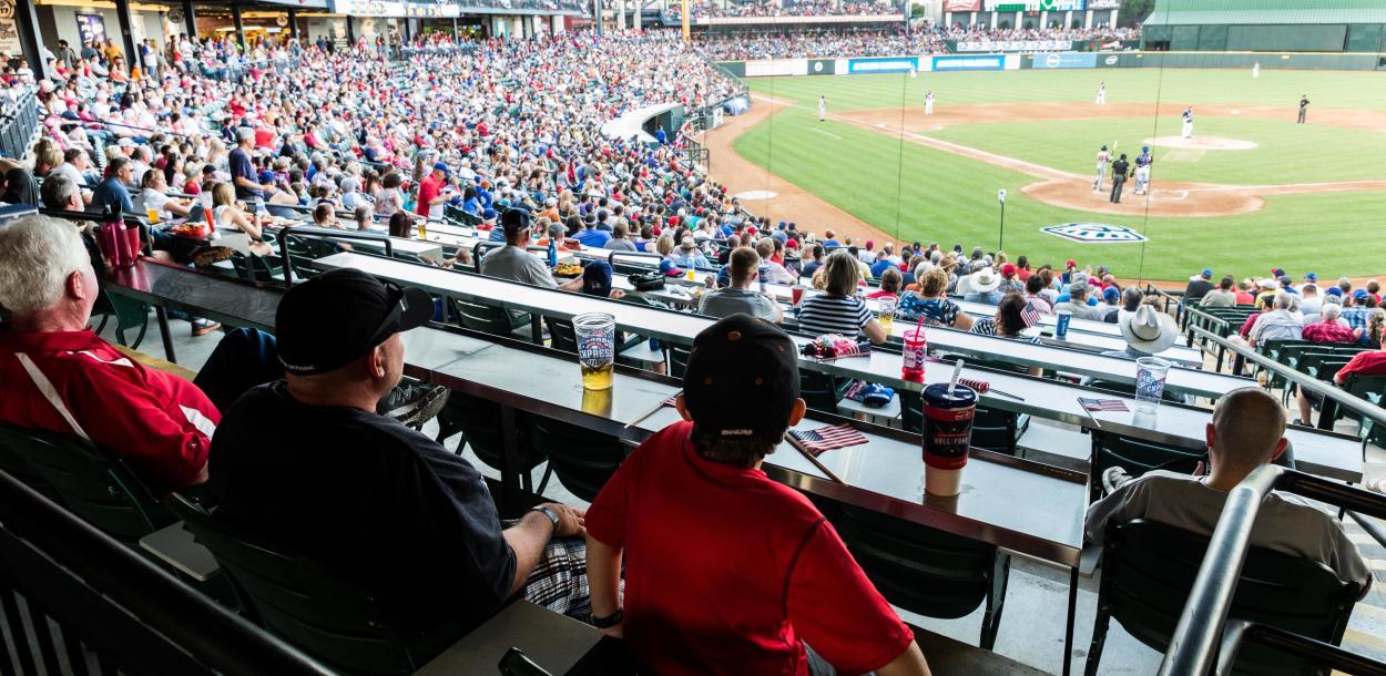 Family at Round Rock Express Baseball game near austin texas