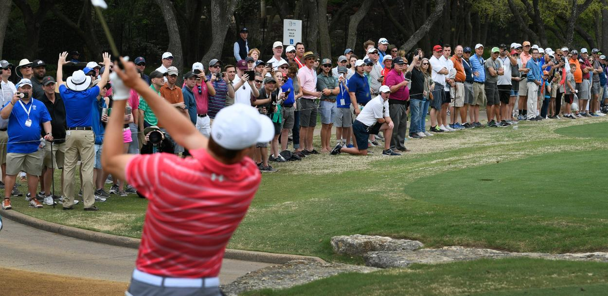 Jordan Speith tees off at the WGC Dell Match Play golf tournament in austin texas