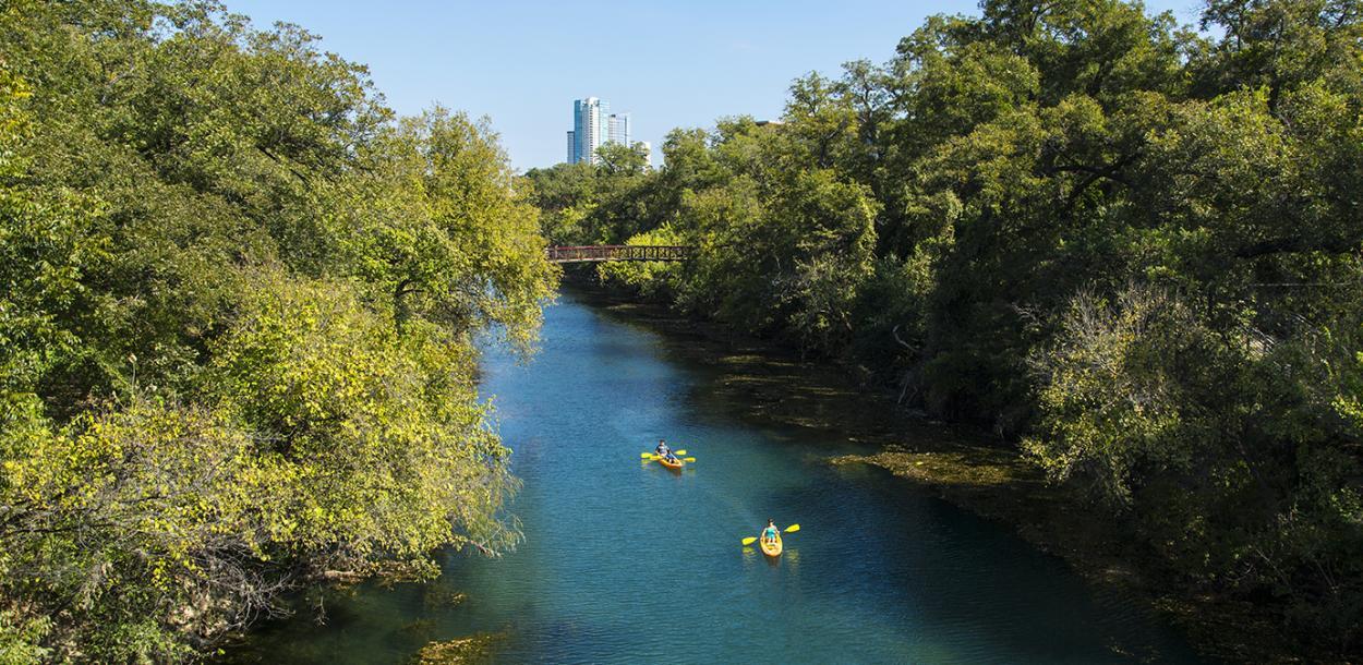 Kayaking through the Barton Creek Greenbelt